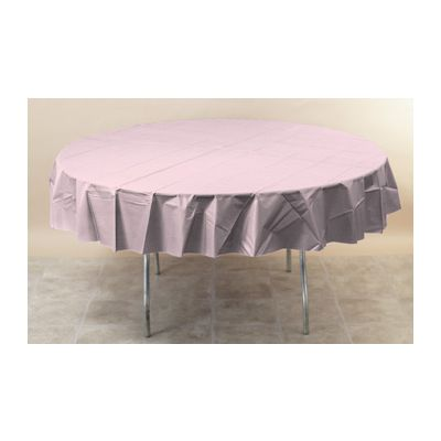 """Creative Converting 703274 Touch of Color 82"""" Round Plastic Tablecloths, Classic Pink - 12 / Case"""