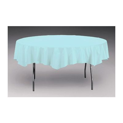 """Creative Converting 703882 Touch of Color 82"""" Round Plastic Tablecloth, Pastel Blue - 12 / Case"""