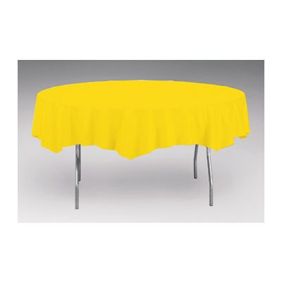 """Creative Converting 703269 Touch of Color 82"""" Round Plastic Tablecloth, School Bus Yellow - 12 / Case"""