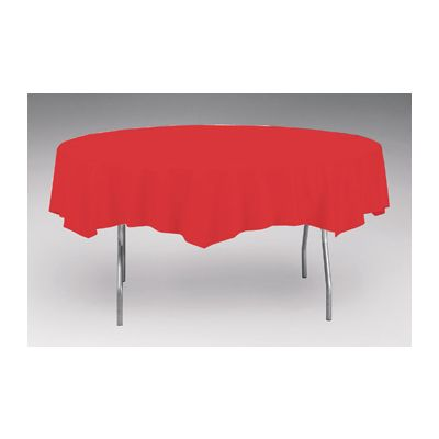 """Creative Converting 703548 Touch of Color 82"""" Round Plastic Tablecloth, Classic Red - 12 / Case"""