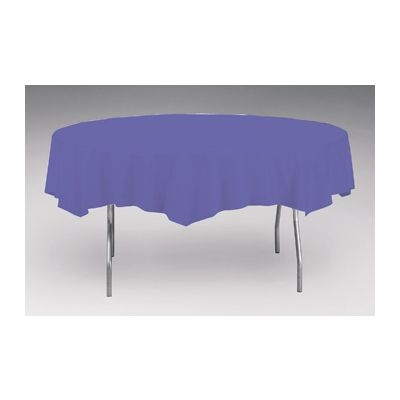 """Creative Converting 703268 Touch of Color 82"""" Round Plastic Tablecloth, Purple - 12 / Case"""