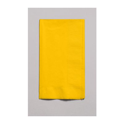 Creative Converting 671021B Touch of Color 2 Ply Paper Dinner Napkins, 1/8 Fold, School Bus Yellow - 600 / Case