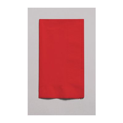 Creative Converting 671031B Touch of Color 2 Ply Paper Dinner Napkins, 1/8 Fold, Classic Red - 600 / Case