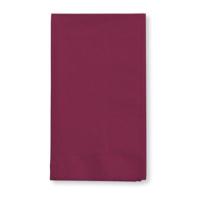 Creative Converting 673122B Touch of Color Paper Dinner Napkins, 2 Ply, 1/8 Fold, Burgundy - 600 / Case