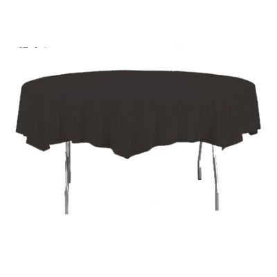 """Creative Converting 703260 Touch of Color 82"""" Round Plastic Tablecloth, Black Velvet - 12 / Case"""