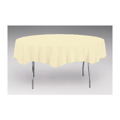 """Creative Converting 703264 Touch of Color 82"""" Round Plastic Tablecloth, Ivory - 12 / Case"""