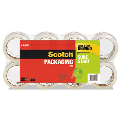 "3M 34508 Scotch Sure Start Shipping Packaging Tape Roll, 3"" Core, 1.88"" x 54.6 Yds, Clear - 8 / Case"