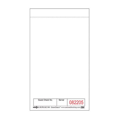 "National Checking KC-100 1 Part Carbon Kitchen Checks, 3-1/2"" x 6"", White - 5000 / Case"