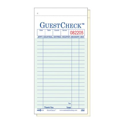 "National Checking 108-50 GuestCheck 2 Part Duplicate Carbonless 19 Line Guest Checks, 3-2/5"" x 6-3/4"", Green - 2500 / Case"