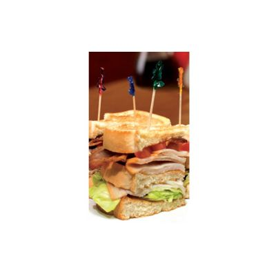 "AmerCareRoyal R812W 4.5"" Frill Club Sandwich / Food Picks in Assorted Colors - 10000 / Case"