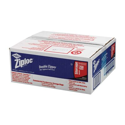 SC Johnson 94602 Commercial Ziploc Gallon Bags, Zipper, Clear - 250 / Case