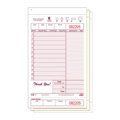 "National Checking 347SW GuestCheck 3 Part Triplicate Carbonless 11 Line Guest Check, 4-1/4"" x 7-1/4"", Maroon - 2000 / Case"