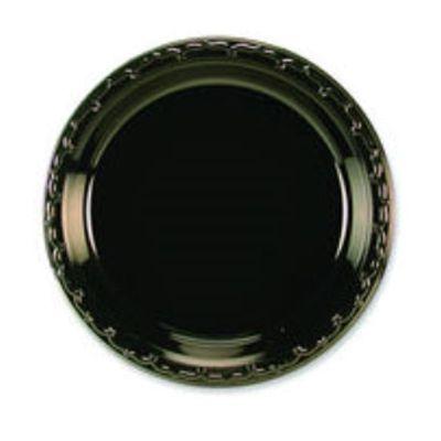 "Huhtamaki Chinet 81407 First Choice 7"" Plastic Plates, Black - 1000 / Case"