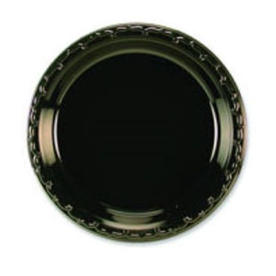 "Huhtamaki Chinet 81410 First Choice 10.25"" Plastic Plates, Black - 500 / Case"