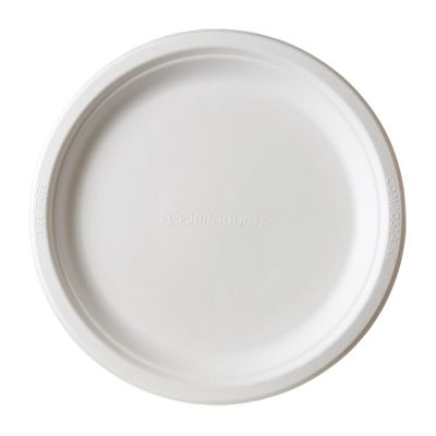 "Eco-Products EP-P013 9"" Sugarcane Plates, White - 500 / Case"