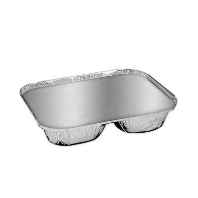 "HFA 2045-35-250W Handi-Foil 8"" Oblong Aluminum Foil Containers and Board Lids, 3 Compartments - 250 / Case"