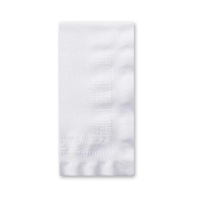 Hoffmaster 120051 Linen-Like Dinner Napkins, Greek Key Embossed, 1/8 Fold, White - 300 / Case