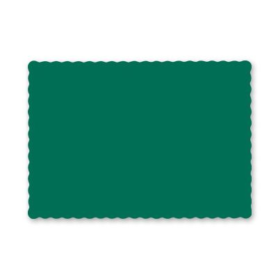 "Hoffmaster 310528 Paper Placemats, Scalloped Edge, 9.5"" x 13.5"", Hunter Green - 1000 / Case"