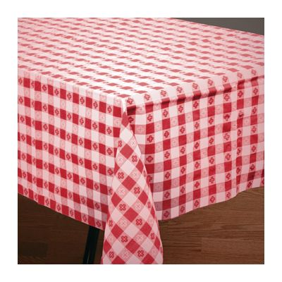"Hoffmaster 220670 Cellutex Poly Tissue Tablecloths, 54"" x 108"", Red Gingham - 25 / Case"