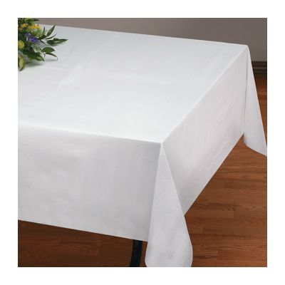 "Hoffmaster 210441 Linen-Like Tablecloths, 50"" x 108"", White - 24 / Case"