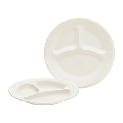 """Dart 9CPWC Concorde 9"""" Foam Plates with 3 Sections, Non-Laminated, White - 500 / Case"""
