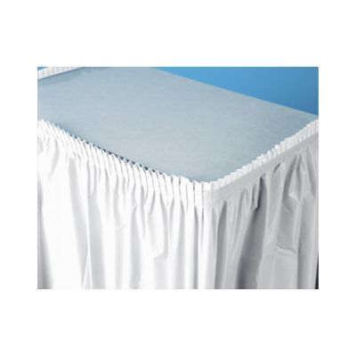 "Creative Converting 010047C Touch of Color Plastic Table Skirts, 29"" x 14', White - 6 / Case"