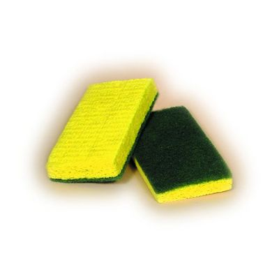 "ACS 74-612 Scrubber Sponge, Individually Wrapped, 6"" x 3-3/8"" x 3/4"", Yellow / Green - 20 / Case"