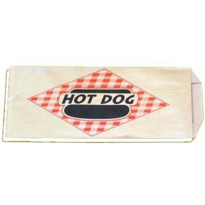 "Fischer Paper 808 Hot Dog Bags, Foil / Paper, 3.5"" x 1.5"" x 8.75"" - 1000 / Case"