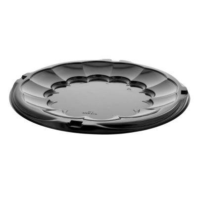 "Pactiv 9812K SmartLock Caterware 12"" Plastic Catering Food Trays, Black - 50 / Case"