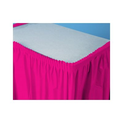 "Creative Converting 10030 Touch of Color Plastic Table Skirt, 29"" x 14', Hot Magenta - 6 / Case"