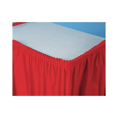 "Creative Converting 10052 Touch of Color Plastic Table Skirt, 29"" x 14', Classic Red - 6 / Case"