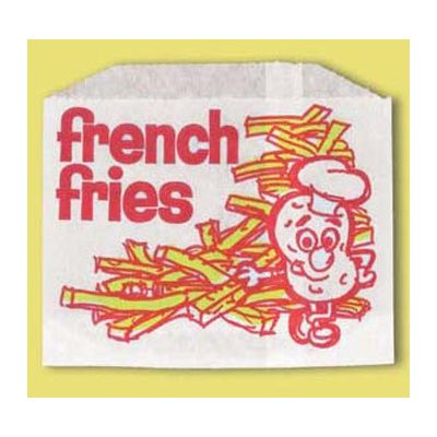 "Fischer Paper 603-FF4 Medium French Fry Bags, 4-7/8"" x 4"" - 2000 / Case"