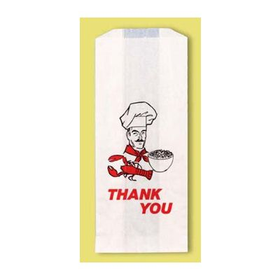 "Fischer Paper 903 Thank You Doggie Bag, Glassine Lined, 5"" x 3"" x 12"" - 500 / Case"