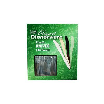 Berkley Square BSCL1008 / 100 Elegant Dinnerware Plastic Knives, Heavy Duty Polystyrene, Boxed, Clear - 1000 / Case