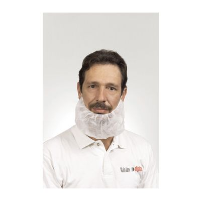 "AmerCareRoyal RBP1M Beard Cover Mask, 18"", Polypropylene, White - 1000 / Case"