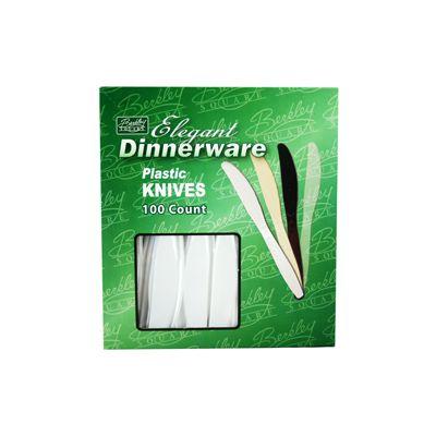 Berkley Square BS1008-100 Elegant Dinnerware Plastic Knives, Heavy Duty Polystyrene, Boxed, White - 1000 / Case