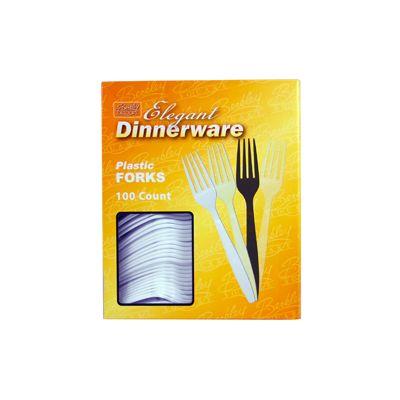 Berkley Square BS2008-100 Elegant Dinnerware Plastic Forks, Heavy Duty Polystyrene, Boxed, White - 1000 / Case