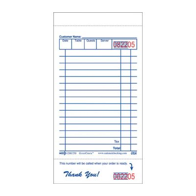 "National Checking 250 GuestCheck 1 Part, 15 Line Guest Checks, 3-1/2"" x 6-3/4"", White - 10000 / Case"