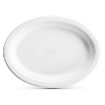 "Huhtamaki Chinet 21256 Vogue Oval Plates, Molded Fiber, 7.5"" x 10"", White - 500 / Case"