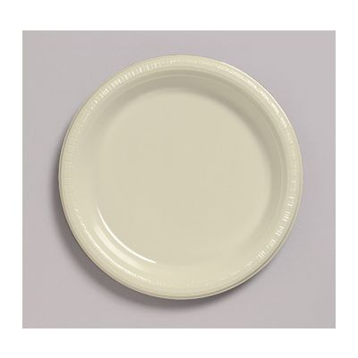 """Creative Converting 28161011 Touch of Color 7"""" Plastic Plates, Ivory - 240 / Case"""