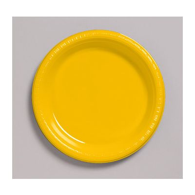 """Creative Converting 28102111 Touch of Color 7"""" Plastic Plates, School Bus Yellow - 240 / Case"""