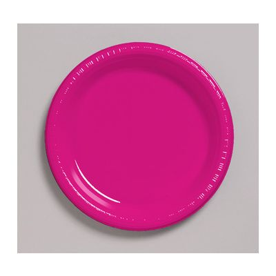 """Creative Converting 28177011 Touch of Color 7"""" Plastic Plates, Hot Magenta - 240 / Case"""