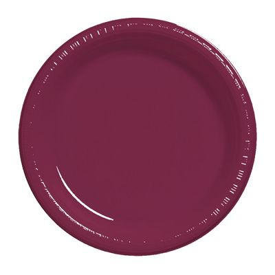 """Creative Converting 28312211 Touch of Color 7"""" Plastic Plates, Burgundy - 240 / Case"""
