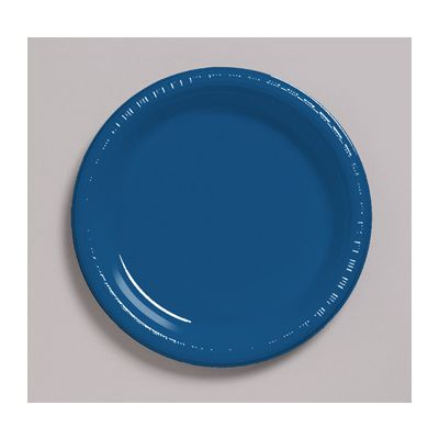 """Creative Converting 28113721 Touch of Color 9"""" Plastic Plates, Navy Blue - 240 / Case"""