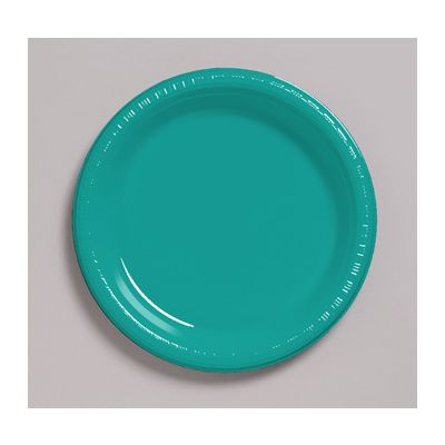 """Creative Converting 28111021 Touch of Color 9"""" Plastic Plates, Tropical Teal - 240 / Case"""