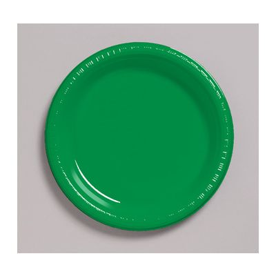 """Creative Converting 28112011 Touch of Color 7"""" Plastic Plates, Emerald Green - 240 / Case"""