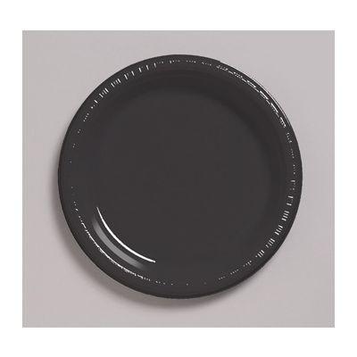 "Creative Converting 28134021 Touch of Color 9"" Plastic Plates, Black Velvet - 240 / Case"