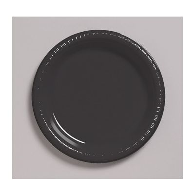 "Creative Converting 28134031 Touch of Color 10.25"" Plastic Plates, Black Velvet - 240 / Case"