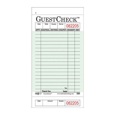 "National Checking 525 GuestCheck 1 Part, 18 Line Guest Checks, 3-1/2"" x 6-3/4"", Green - 2500 / Case"