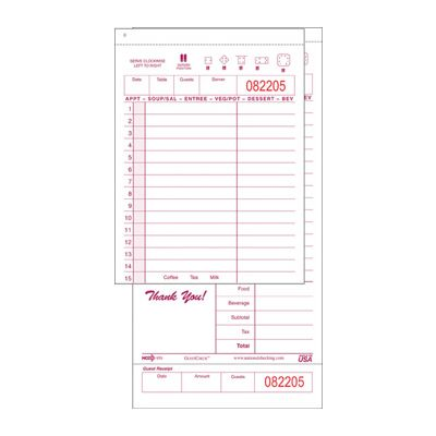 National Checking 950BND GuestCheck 2 Part Carbonless, 15 Line Guest Checks, Maroon - 2000 / Case